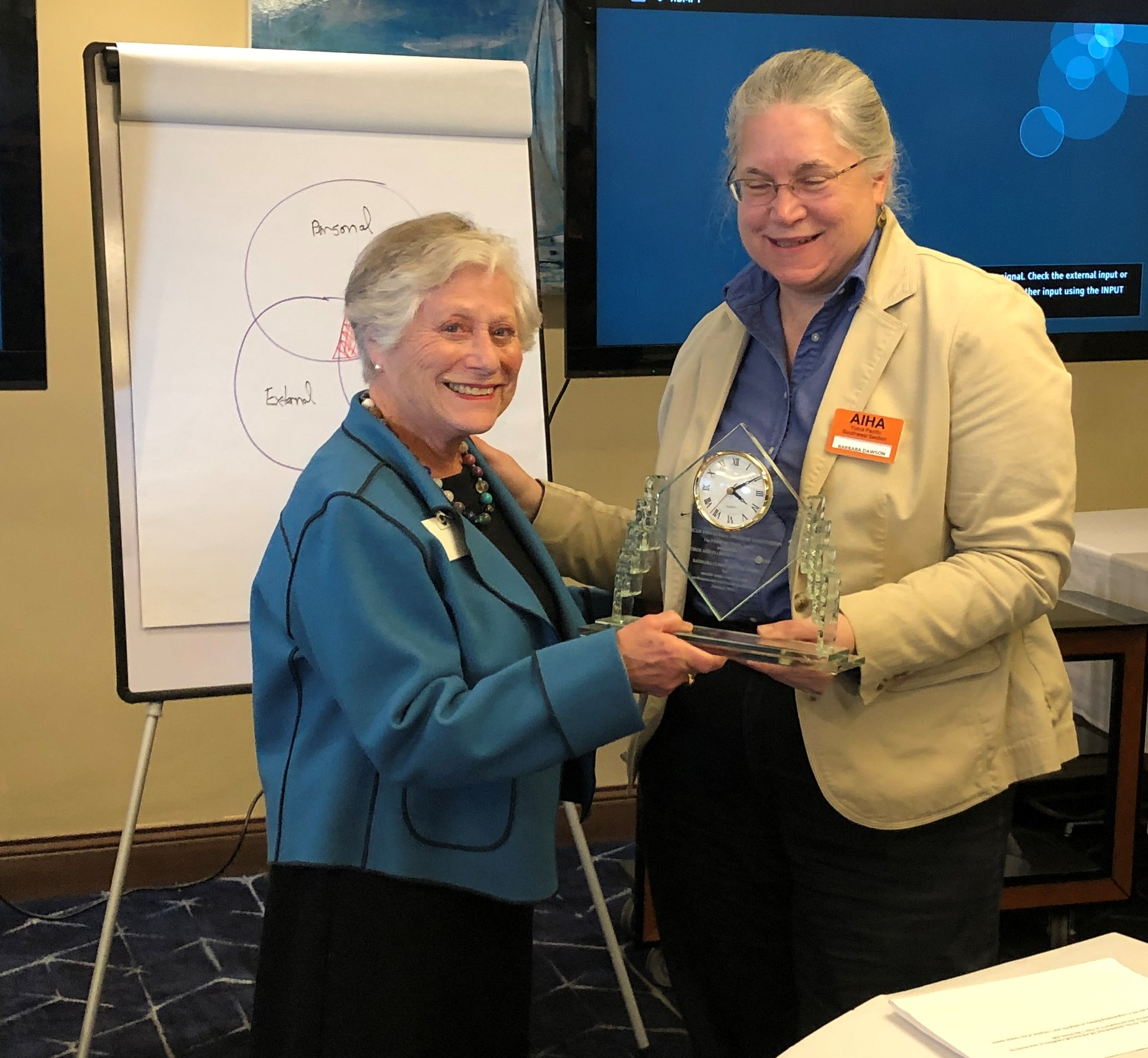 Barbara Cohrssen receiving Clayton Award