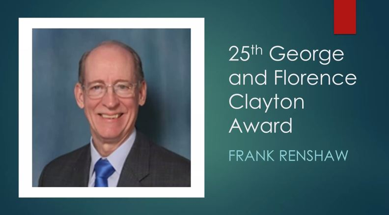 Frank Renshaw receiving Clayton Award